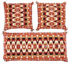 Flat-weave (rölakan). Skåne around 1830-40. The wagon cushion 109 x 53,5 cm, the cushions about 52 x 52,5 cm each.