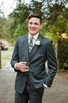 Happy groom in dark grey suit with white boutonniere #cedarwoodweddings 11.18.17 :: Erin + Phillip | Cedarwood Weddings