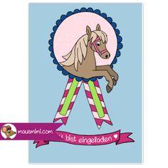DIN A6 Einladungskarte Kindergeburtstag Party Pferd Medaille