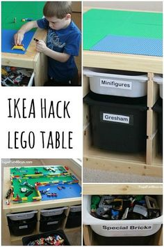 Upgrade IKEA storage into this Lego table. Love it!