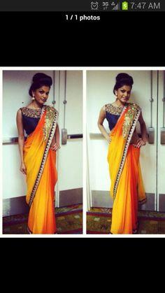 Mango and blue saree from Lavish dulhan show 2013.