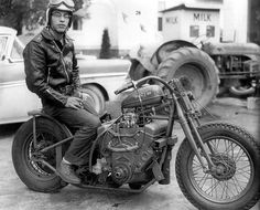 E. J. Potter - yes that's a small block chevy... He took a Harley Davidson frame and put a small-block chevy engine in it, sideways. This engine had Hilborn injectors and burned Nitro, and was producing about 500 Hp. It did about 160 MPH in the quarter mile..