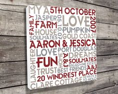Word Clusters Personalized art, bespoke canvas prints, unique gift ideas, wedding present ideas