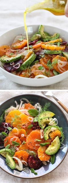 Citrus, Avocado and Fennel Salad Ajouter des crevettes pour une salade-repas Raw Food Recipes, Salad Recipes, Vegetarian Recipes, Cooking Recipes, Healthy Recipes, Fennel Recipes, Fast Recipes, Clean Eating, Healthy Eating