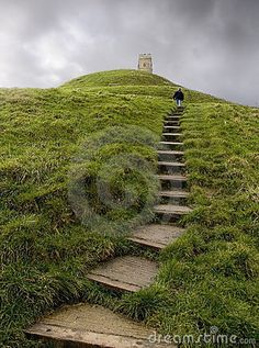 Portrait view of the steps leading up  Glastonbury Tor in Somerset, England