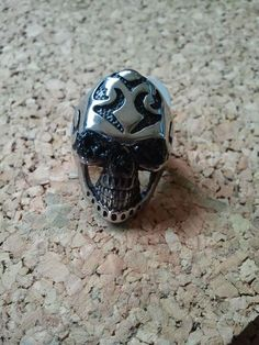 Stainless Steel Men's Skull ring with WV Coal Eyes from West Virginia Coal Jewelry! www.wvcoaljewelry.com