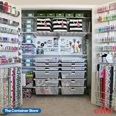 Contact us today for a free space design and create the ULTIMATE craft and hobby room! (Shown: Elfa Classic in White) Craft Room Closet, Craft Closet Organization, Craft Room Storage, Kids Storage, Closet Storage, Organization Ideas, Craft Rooms, Storage Ideas, Ikea Closet
