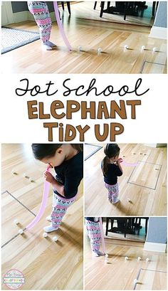 This elephant tidy up activity is a great gross motor challenge for a zoo theme in tot school, preschool, or the kindergarten classroom.