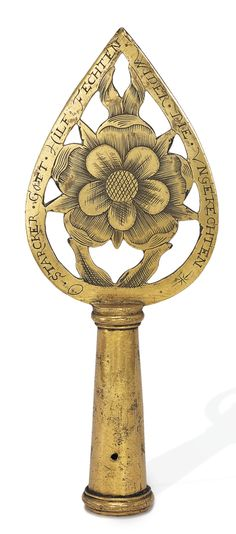 UNMARKED GILT-METAL STAFF HEAD,  pierced, armorial engraved, inscribed,  possibly Nuremberg, dated 1663