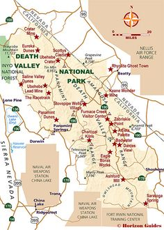 Map of Death Valley National Park CaliforniaNevada CA trips