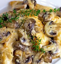 Mushroom Asiago Chicken - Gourmet meal that's on your table in 30 minutes. The result was this dish and it's superb. If you don't have fresh thyme. I'd suggest using 1/2 tsp dried in it's place. And if you cannot find Asiago cheese. Romano or Parmesan is a decent substitute.