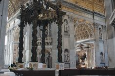 Baldacchino, the canopy over the main altar in Saint Peter's Basilica, designed by Gian Lorenzo Bernini