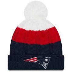 359c8b0dc Women s New England Patriots New Era White Navy Layered Up 2 Cuffed Knit Hat  with Pom