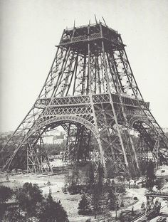 Rare photo of Eiffel tower, with visible scaffolding for the construction - July 1888