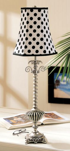 Paris Chic Black and White Polka Dot Table Lamp. I would put this in my home office when I set it up.