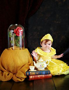 Disney beauty and the beast Belle baby photo shoot; kids photography photo session