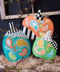 Paisley Patchwork Pumpkin Plant Pick Set #zulily #zulilyfinds