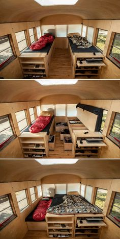 Architecture student converts school bus into mobile home School Bus Tiny House, School Bus Camper, Bus House, Bus Living, Tiny House Living, Home And Living, Motorhome, Converted School Bus, Mobile Home Living