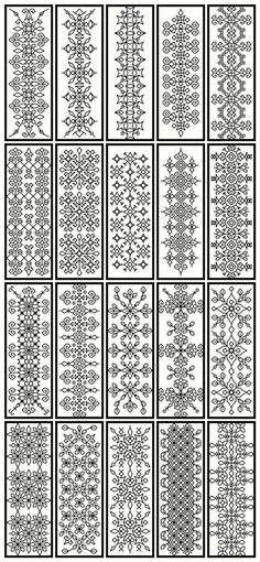 traditional blackwork embroidery designs as doodle fodder! traditional blackwork embroidery designs as doodle fodder! Blackwork Cross Stitch, Blackwork Embroidery, Folk Embroidery, Cross Stitching, Cross Stitch Embroidery, Embroidery Patterns, Cross Stitch Patterns, Border Embroidery, Indian Embroidery