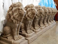 The lions arrived and awaiting a coat of spray primer.