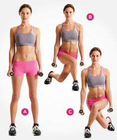 Want to tone and tighten your lower half? Try this cross-behind lunge and 4 more new lunges: www.womenshealthmag.com/fitness/new-lunge-exercises?cm_mmc=Pinterest-_-womenshealth-_-content-fitness-_-newlungestotry