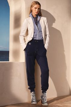 Ralph Lauren Collection Spring 2021 entwines elegance with function. The Parker Stretch Wool Jacket and the versatile Cashmere-Silk Jogging Pant pair with the Raelyn Floral Denim Sneaker Pump for a seasonal update to modern, casual luxury. Denim Sneakers, Embellished Skirt, Cashmere Jacket, Floral Denim, Ralph Lauren Collection, Silk Shorts, Boyfriend Shirt, Kids Outfits, Work Outfits
