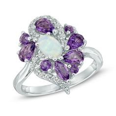 Oval Lab-Created Opal, Amethyst and White Topaz Cluster Ring in Sterling Silver