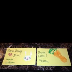 Easter cards (front and back). Front used washable white paint covering palm and 1st and 3rd finger for ears.  Back used orange paint on foot and green on toes for the carrot. Couple of finishing touches and turned out very cute. Used foam paper (can wipe away excess paint and mistakes better on it). Fun easter project