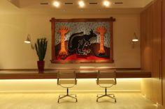 Lighting design by John Cullen Lighting. Led Shelf Lighting, Linear Lighting, Home Office Lighting, Cool Lighting, Lighting Design, Display Lighting, Lighting Ideas, Artwork Display, Desk Light