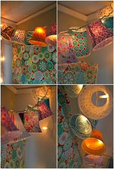 Cover plastic cups in fabric and punch hole in top and attach to Christmas lights and hang. Super cute! :)