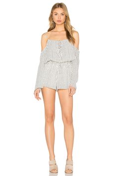 Lucca Couture Cold Shoulder Romper in White Dotted Stripes