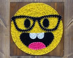 Modern Emoji String Art Wall Decor, smarty pants yellow emoji decoration great gift for somebody who has everything, gift for her or him