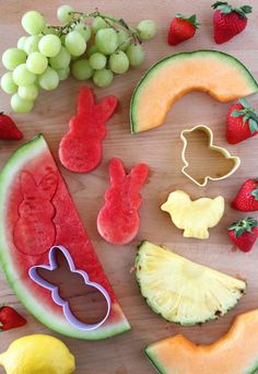 Easy Lemon Dip Recipe with Easter Themed Fruit! Fun party food idea for spring, a farm birthday party or Easter.