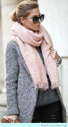 Cute pink oversized scarf with longline coat