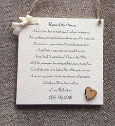 Nana Of The Groom 'Thank You' Personalised Wedding Keepsake Gift Nanna, Nan, Mam Rustic Wedding Gifts, Wedding Thank You Gifts, Personalized Wedding Gifts, Gifts For Nan, Thank You Presents, Thank You Cards, Mum Poems, Dream Wedding, Wedding Day