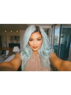 Celebrity Hair Changes - Kylie Jenner baby blue hair | allure.com