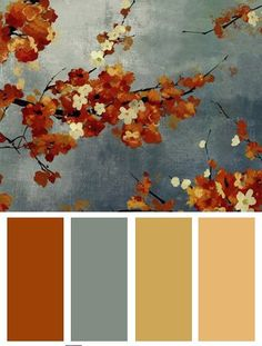 May have just found the color palette I've been looking for for reading room/office. Trying to move away from jewel tones-burgandy/green/gold. Orange Color Palette: Orange Blossoms II, Art Print by Asia Jensen Orange Color Palettes, Colour Pallette, Color Palate, Colour Schemes, Color Combos, Orange Paint Colors, Colour Palette Autumn, Burnt Orange Paint, Fall Paint Colors