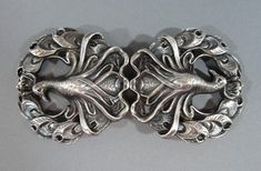 Antique Art Nouveau KERR American Sterling Silver PEACOCK Ladies Belt Buckle