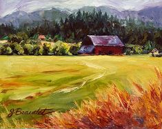 quality oil paintings barn landscapr | Print of Original Oil Painting LANDSCAPE Barn Fall Colors Autumn farm