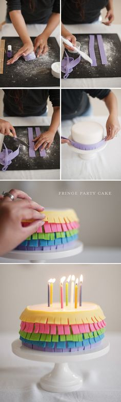 Fringe Party Cake-This reminded me immediately of a pinata and would be kick ass for cinco de mayo