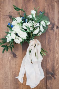 gorgeous bouquet with silk ribbon from Blue Berry Farm shoot in Indiana http://www.trendybride.net/blue-barn-berry-farm-indiana-shoot/ {trendy bride}