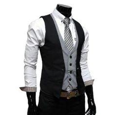 TheLees Mens premium layered style slim vest waist coat SEXY!