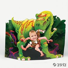 Dino-Mite Cutout Photo Stand-Up...this would perfect for the boys bday party, take a photo of each guest and send to them as thank you card later :)