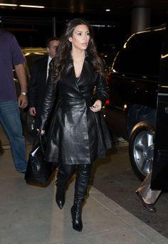 Kim Kardashian wearing Hermes 35cm Birkin Bag in Black Croc Tom Ford Fall 2012 Boots Azzedine Alaia Paris Black Lambskin Leather Coat. Kim Kardashian At LAX Airport in Los Angeles November 6 2012.