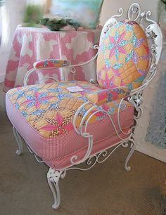 Quilt upholstered chair  2 by sunshinesyrie, via Flickr - beautiful