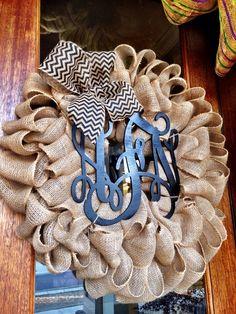 Burlap Wreath ~ Spring Summer Wreaths for door - Door wreath - Monogram Wreath - Initial Wreath by Frontdoorshowcase