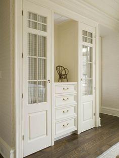 built-in linen cabinet