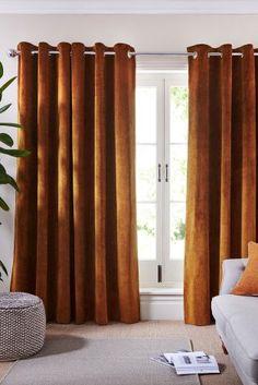 Amber Soft Velour Eyelet Curtains