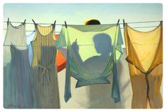 Jeffrey T. Larson (American, b. 1962): Hanging Laundry. Oil on canvas