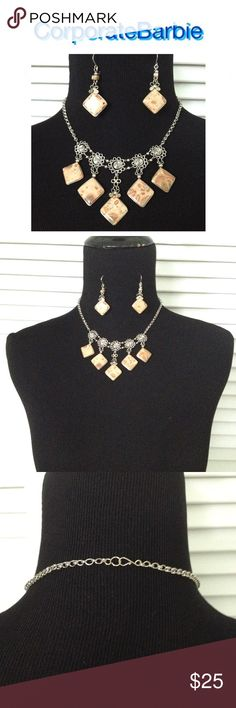 """Labor Day Flash Sale! Necklace Matching Earrings Brown and tan marbled stone necklace and matching earrings set. Silver toned metal. 16"""" length necklace. 2"""" drop earrings. Brand new in box. Jewelry Necklaces"""